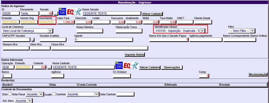 Figura 3 - Campos ' Vencimento' e 'Identificador Global' na manutenção do ingresso