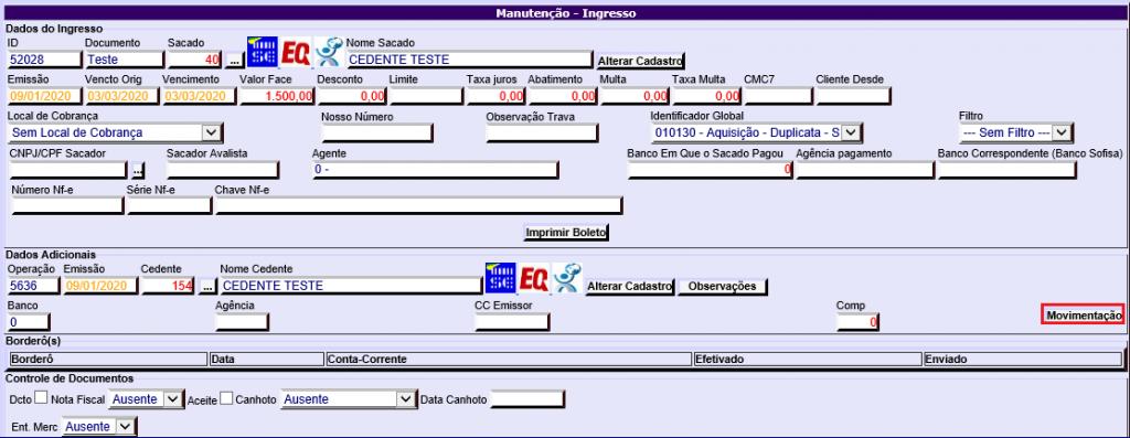 Figura 5 - Localização do botão 'Movimentação'