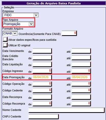 Figura 2 - Parâmetros para geração