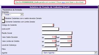 Figura 2 - Tela de parâmetros de seleção