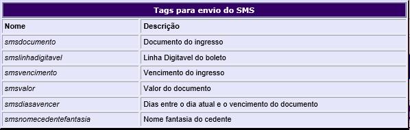 Figura 2 - Tags para envio do SMS