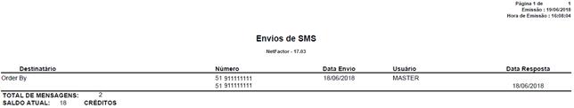 Figura 5 - Relatório de Envios de SMS