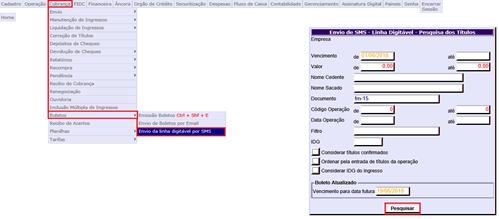 Figura 6 -   Envio de SMS – Linha Digitável – Pesquisa dos Títulos