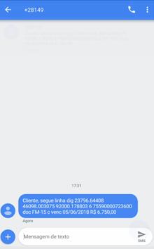 Figura 8 - SMS enviada para o sacado