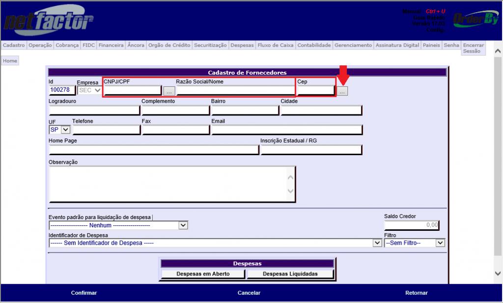 Figura 2 - Cadastro de Fornecedores