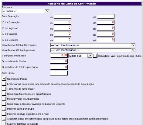 Figura 5 - Parâmetros de Pesquisa