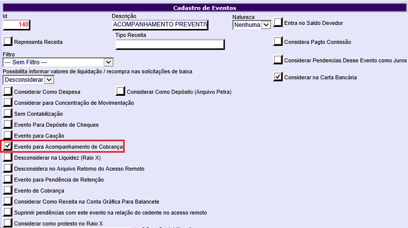 Figura 4 - Configuração Acompanhamento de Cobrança