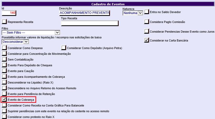 Figura 5 - Configuração Evento de Cobrança