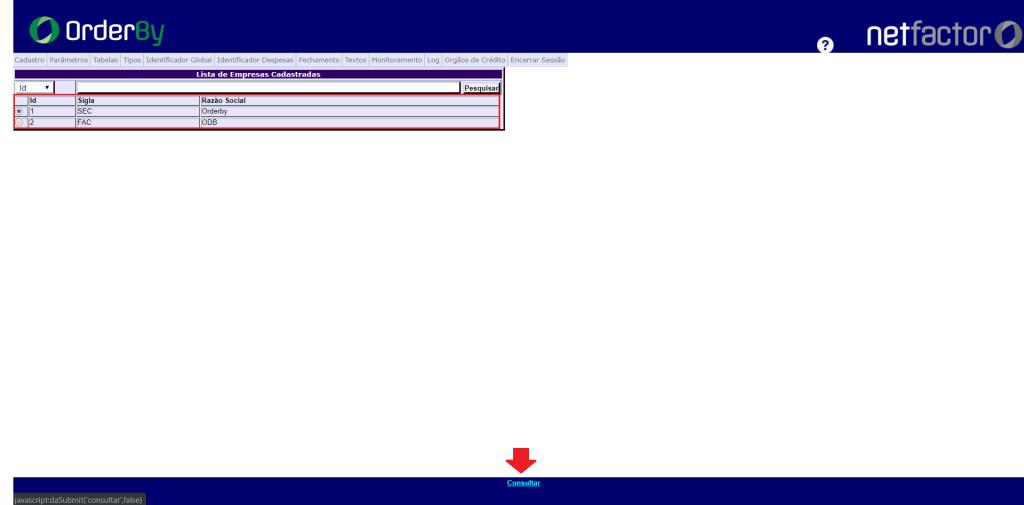 Figura 2 - Opção para selecionar a empresa