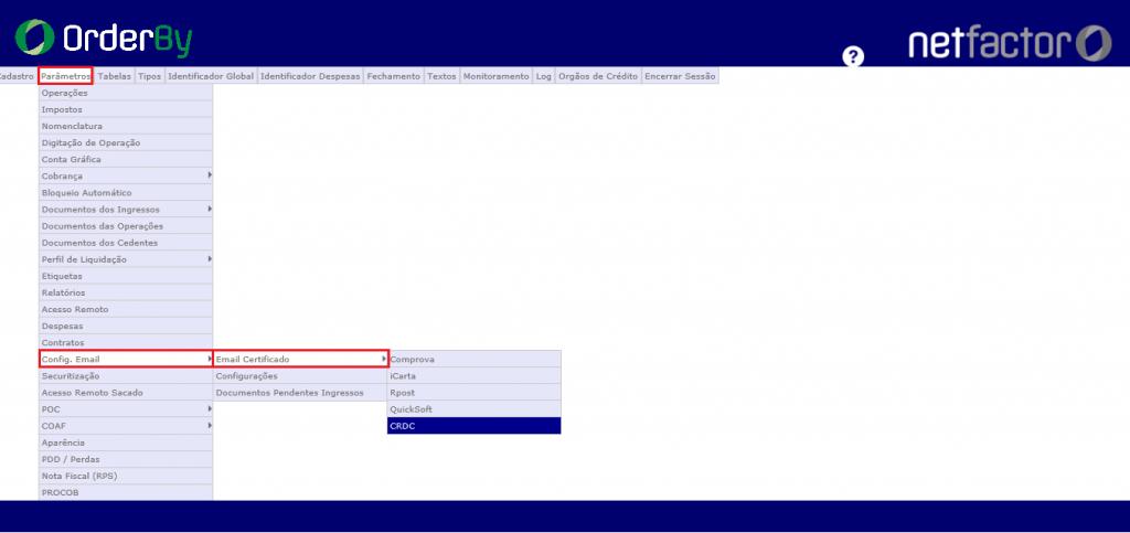 Figura 1 - Configuração do E-mail certificado