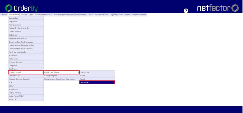Figura 1 - Acesso par a configuração de e-mail certificado