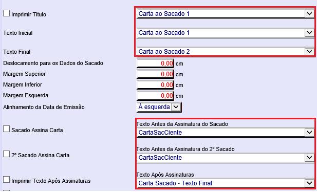 Figura 6 - Configuração dos textos