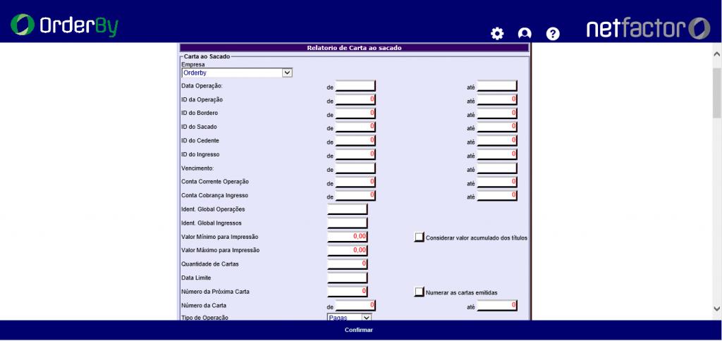 Figura 7 - Parâmetros de Seleção dos Ingressos