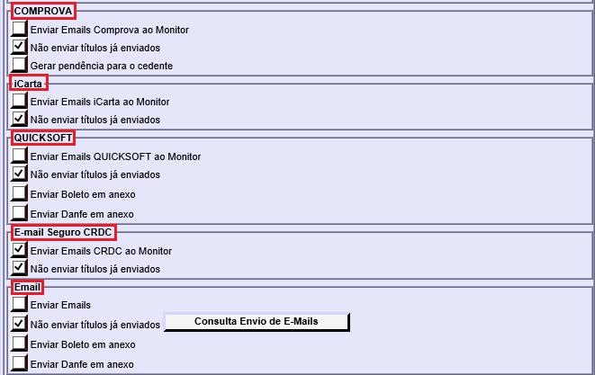 Figura 8 - Parâmetros de Envio de Email
