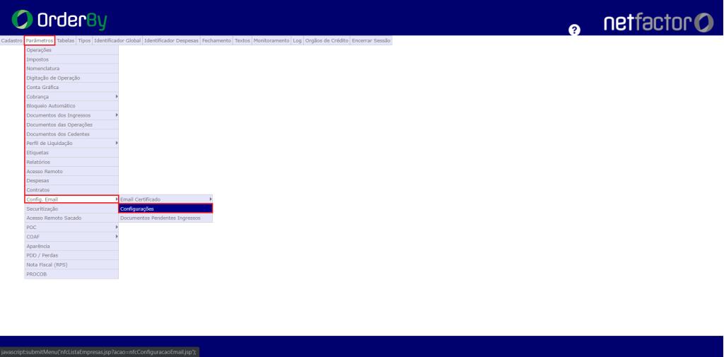 Figura 1 - Caminho configuração SMTP