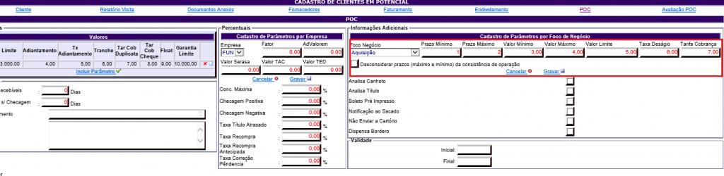 Figura 11 - Parâmetros por Foco de Negócio