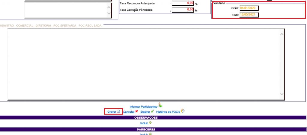 Figura 12 - Salvando a validade da POC