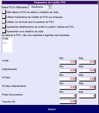 Figura 2 - Algumas opções de Parâmetros de Crédito