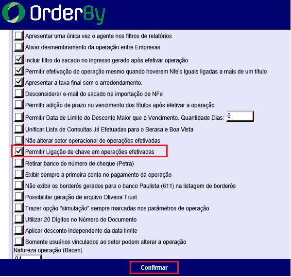 Figura 2 - Opção ' Permitir Ligação de chave em operações efetivadas'
