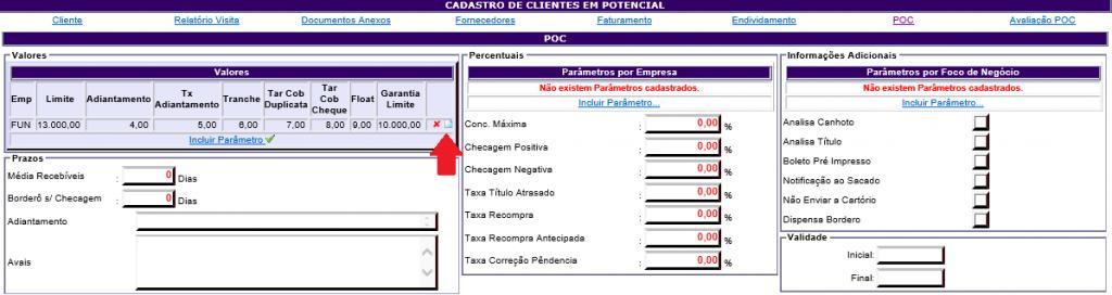 Figura 6 - Opção para editar e excluir as informações