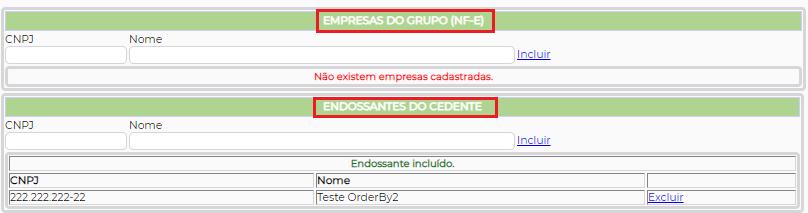 Figura 3 - Cadastro do Endossante e inclusão no Grupo NF-e