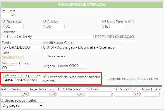 Figura 4 - Parâmetros de Operação - Opção Emitente da Nota