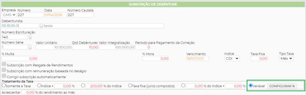 Figura 5 – Configuração da Subscrição