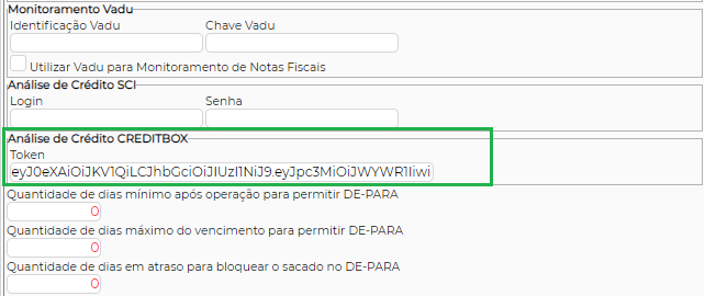 Figura 2 – Local para inserir o Token do Credibox