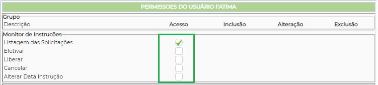 Figura 3 - Liberação de acesso as funções