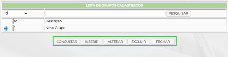 Figura 4 - Lista de Grupos cadastrados