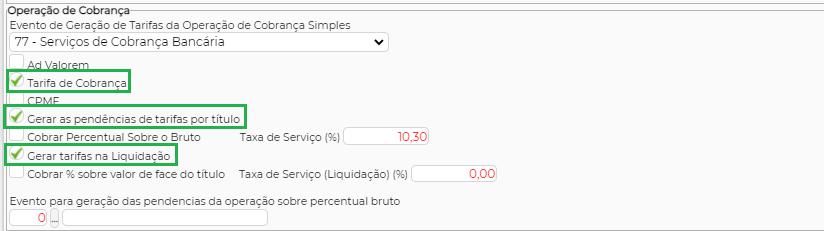 Figura 1 - Configuração para gerar tarifa na liquidação